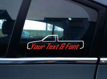 2x Custom YOUR TEXT car sticker - for Nissan Hardbody single cab Pickup | D21